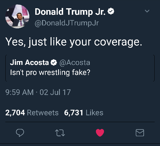 TRUMP JR WRESTLING FAKE
