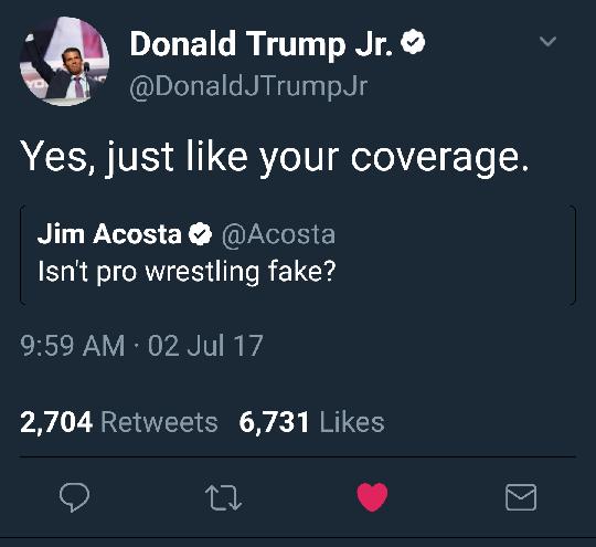TRUMP JR WRESTLING FAKE